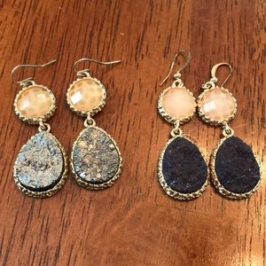 Gold with raw Stone drop earrings